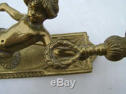 2 Gilt Bronze Sconces Louis XVI Cherubs Time XIX Em Electrification Recen