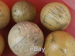 8 Antique Billiard Balls. Napoleon III Period, 19th Century. Snooker Ball
