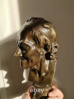 After Houdon Bronze Bust Of Voltaire 19th Century Philosopher France
