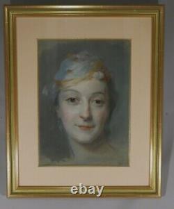 After Quentin De La Tour, Portrait Of Mademoiselle Fel, Pastel Era Xixth