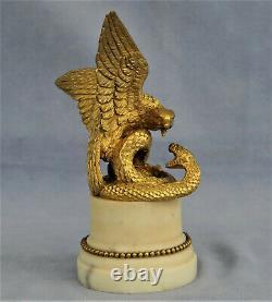 Aigle Attacking A Snake Sculpture In Bronze Doré Epoque Empire Xixth Century