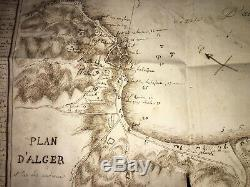 Alger. Handwritten Touching Map Made In The Era From Conquest. 1830