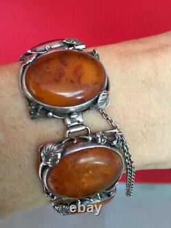 Ancien Bracelet Epoque Art New End 19th, Argent And Ambre, Minerve Poinçon