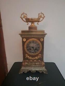 Ancienne Pendule Borne Bronze Dore Epoque Restauration Vase Coupe XIX Em