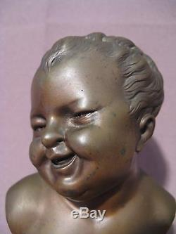 Ancient Bronze Jean Laughing And Jean Crying Time XIX Century