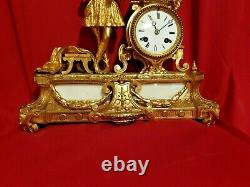 Ancient Clock In Gilded Bronze, Late 19th Century