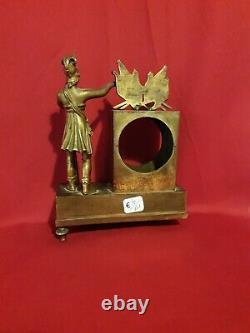 Ancient Little Golden Bronze Clock, Empire 19th Century