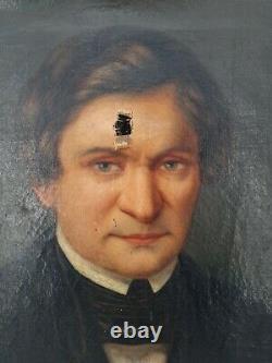 Ancient Portrait Of 19th Century Man, Oil On Canvas