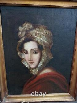 Ancient Portrait Of Woman Oil On Canvas 19th Century