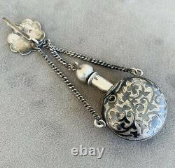 Ancient Russian Salt Bottle In Silver Negated Chatelaine Era 19th