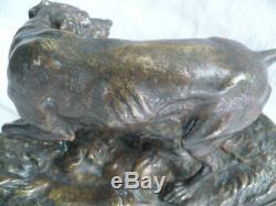 Animal Bronze Xixth Century Signed Pierre Jules Mene Dog Of Hunting