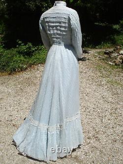 Antique Belle Epoque Dress In Antique Victorian Feathery Dress