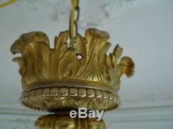Antique Chandelier A 6 Arm Bronze Light Louis XV Style Napoleon III Era XIX Em