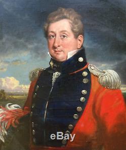 Auguste Monvoisin Officer Portrait Charles X Era Oil / Canvas Xixth Century