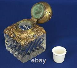 Baccarat Encrier Cristal & Bronze Style Roache Epoque Napoleon III XIX