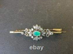 Beautiful 18k Gold Brooch, Emerald And Diamond Roses, 19th Century