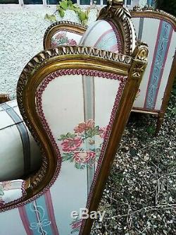 Beautiful Bergeres Armchairs In Ears Golden Wood Louis XVI Era XIX Em