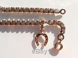 Beautiful Bracelet Ancient Xixth Rose Gold 18k 750/1000 ° / Length 19.5cm