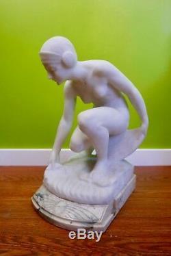 Beautiful Marble Statue Time Fine Art Nouveau Nineteenth Signed Guglielmo Pugi