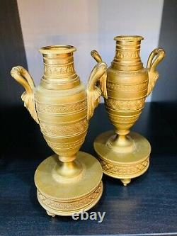 Beautiful Pair Of Gold Bronze Cossolettes. Candlesticks. Late 19th Century. Empire