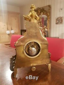 Beautiful Pendulum Romantic Era XIX S, Wire Movement, Superb Gilding