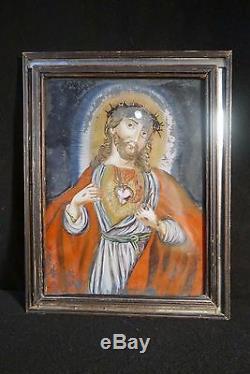 Beautiful Secured Under Glass Era Glazing Bead XIX Sacred Heart Christ Folk Art