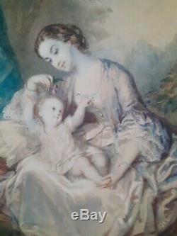 Beautiful Watercolor Late Nineteenth Time, Maternity, Interior Scene