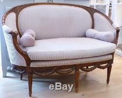 Bench, Sofa Louis XVI Basket, Late Nineteenth Time
