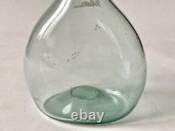 Berger's Bottle In Glass Blow In Nuance Bleue Art Populaire Époque XIX Ème