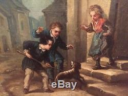 Boilly, Jules (1796-1874) Oil On Canvas Epoch Nineteenth Children In The Street