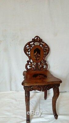 Brienz Swiss Child Musical Chairs Antique Nineteenth Century Carved