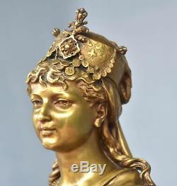 Bronze Bust Golden Patina Young Woman Oriental Xixth