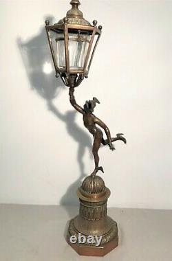 Bronze God Hermès Nightlight Lantern Era Xixth Century