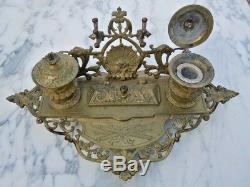 Bronze Inkwell Office Decor Bacchus Head 19th Time