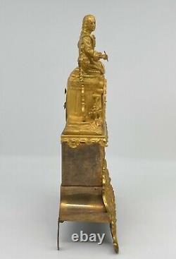 Bronze Pendule Dore Epoque Restoration Xixeme Dial Email Man At Book M135