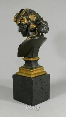 Bust From Antinous Ancient Bronze Skating And Golden, Era Xixth
