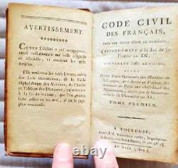 C1 Napoleon CIVIL Code 1804 Toulouse Relie Full Cuir D Époque Rare