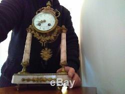Cartel Clock In Bronze And Marble Column Nineteenth Napoleon III