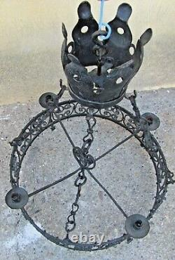 Castle Chandelier 19th Century Wrought Iron Style High Age