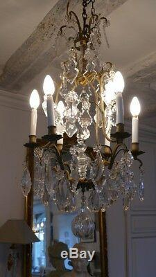 Chandelier Cage Crystal, Glass And Bronze, Time XIX