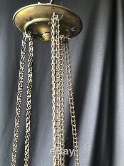 Chandelier / Lantern Napoleon IIII Enamelled Glass And Painted Epoque Xixeme