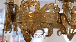 Chandelier Medieval Style, Neogothic Gilt Bronze, Time XIX