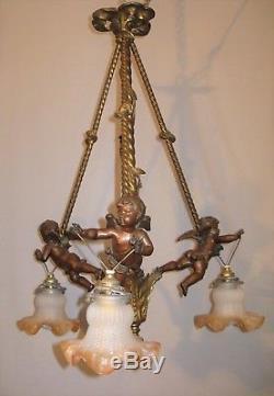 Chandelier With Cherubs Three Lights Bronze And Metal Xixth Century