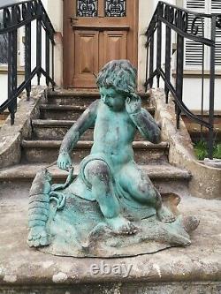 Child Bronze Garden Fountain And Crayfish On A 19th Century Rock