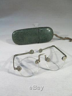 China Old Pair Of Glasses In Their Case In Green Galuchat Time XIX