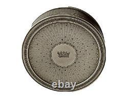 Circular Box In Silver Massive Crown Of Baron - Guillochée Period 19th