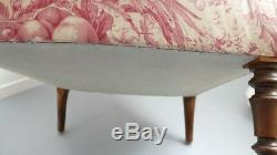 Comfortable Napoleon III Armchair, Nineteenth Time, Bird Fabric, Flower