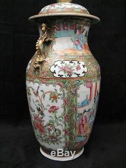 Covered Vase Porcelain Canton China Era Nineteenth Century