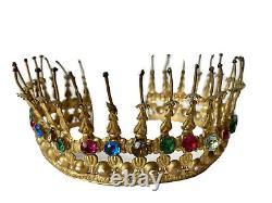Crown Of Saint Statue Virgin Brass Strass Church Age 19th Ancient Crown