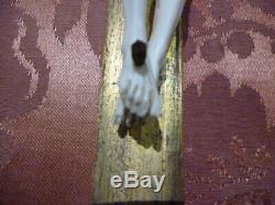 Crucifix Christ Sculpted On Framework Xixth